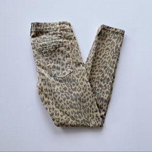 Current Elliott Leopard Stiletto Skinny Jeans 24